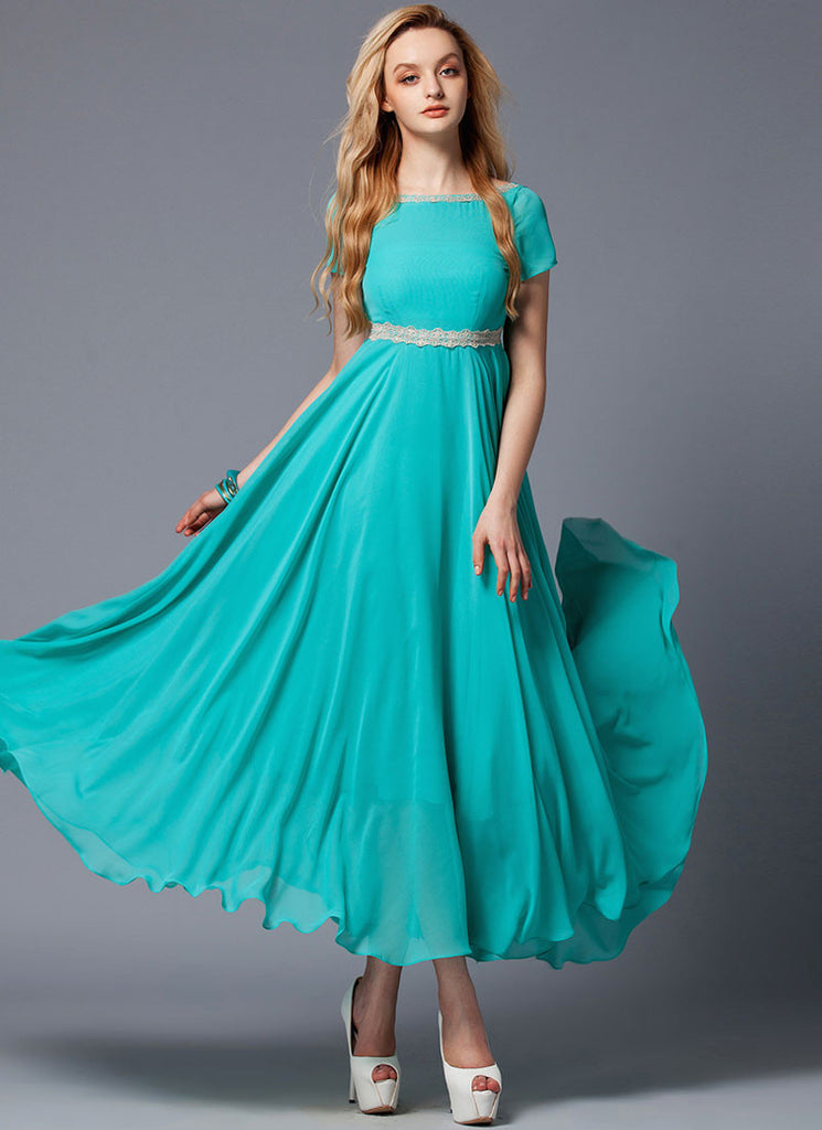 V Back Dark Turquoise Maxi Dress with Beige Lace Trim Details