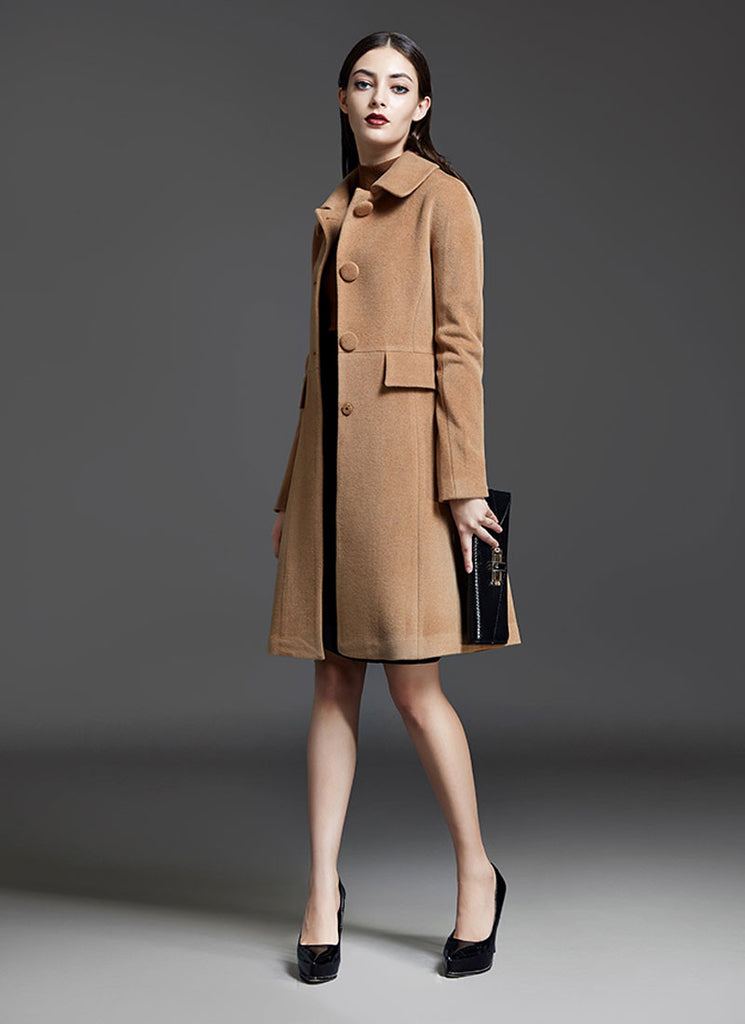 Single Breasted Peru Cashmere Wool Coat