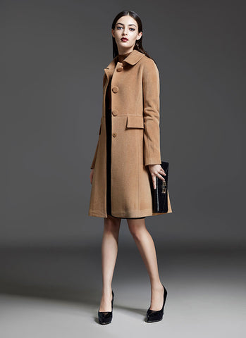 Single Breasted Peru Cashmere Wool Coat RB2015-1