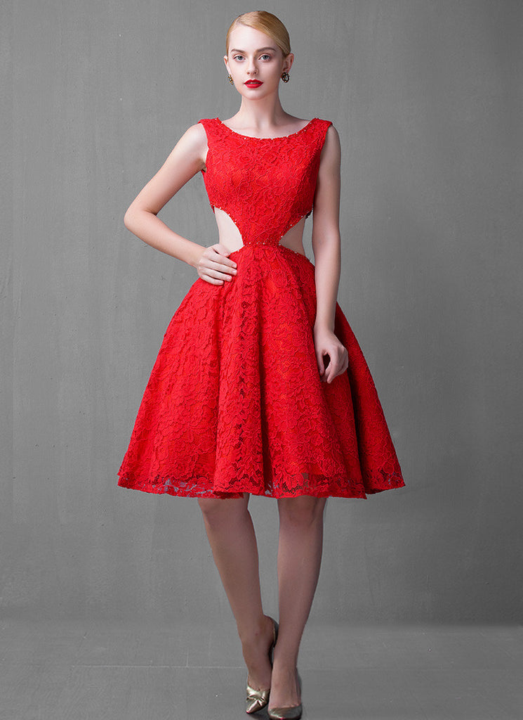 Sleeveless Open Back Red Lace Mini Dress with Cut-out Waist