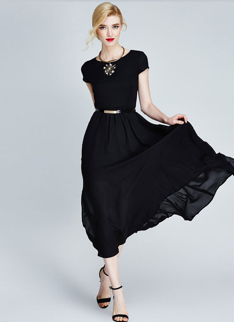 Black Chiffon Midi Dress with Cap Sleeves and Side Slit