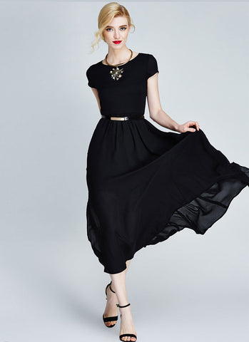 Black Chiffon Midi Dress with Cap Sleeves and Side Slit MD20
