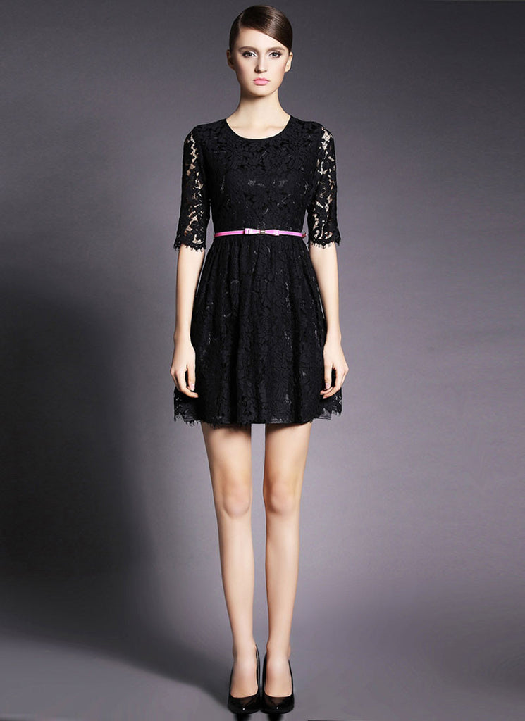 Half Sleeve Black Lace Mini Dress with Eyelash Details