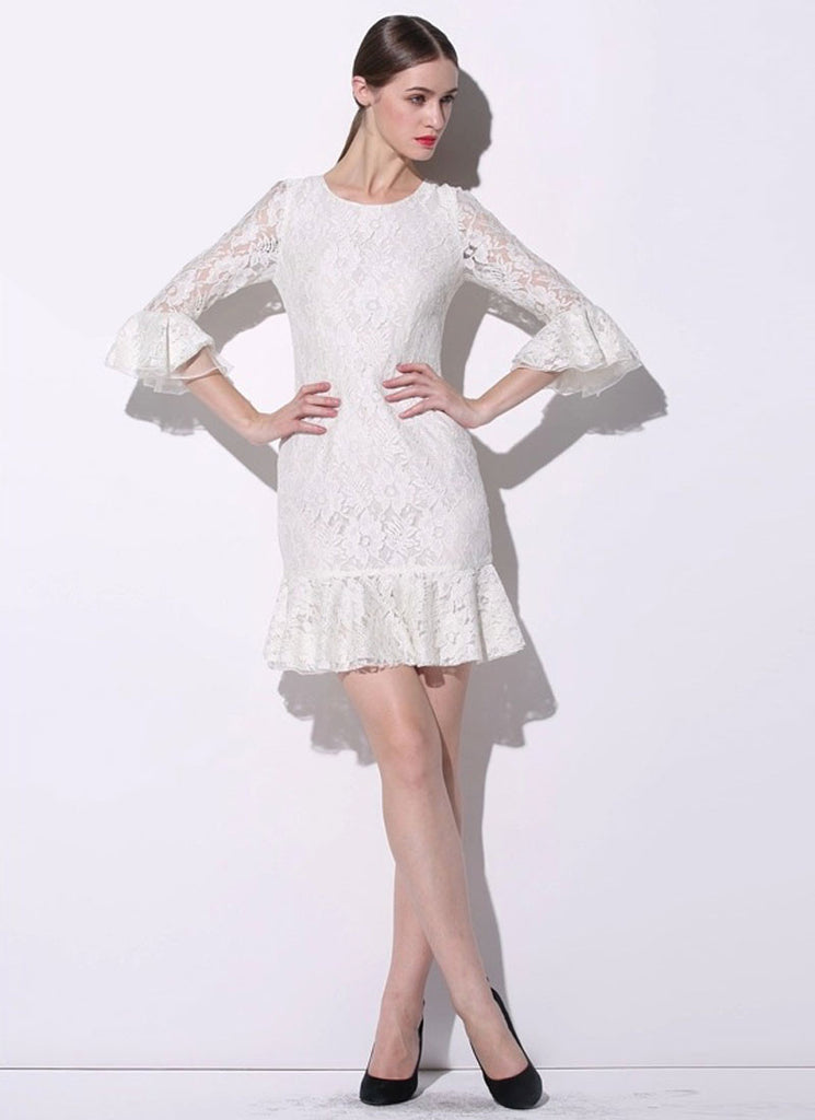 White Lace Mini Dress with Trumpet Sleeves and Flounce Hem