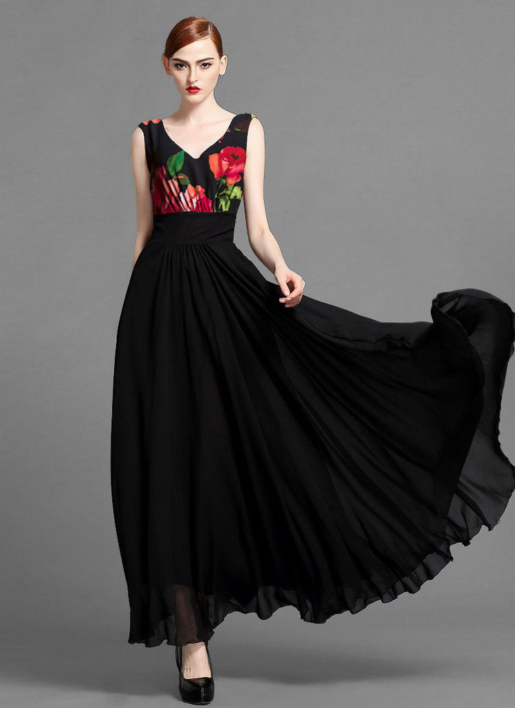 Sleeveless V Neck Chiffon Maxi Dress with Rose Floral Top