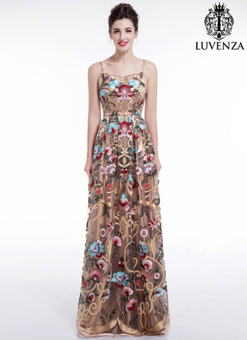 Golden Spaghetti Strap Floral Embroidery Maxi Evening Dress with Art Deco Style Embroidery