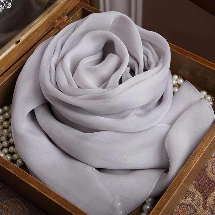 Light Gray Silk Chiffon Scarf - Light Grey Mulberry Silk Scarf SS25