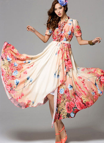 Orange Red Floral Maxi Dress with Asymmetric Layered Skirt and Ruffled Neckline RM705