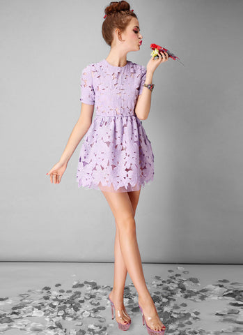 Thistle Lace Mini Dress with Floral Scalloped Hem RD374