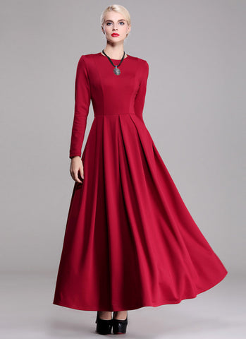 Long Sleeve Red Maxi Dress RM372