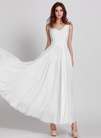 Sleeveless V Neck White Maxi Dress with Narrow Waist Yoke MX32