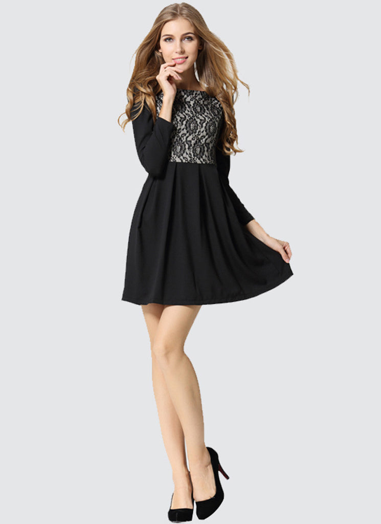 Long Sleeved Black Lace Chiffon Mini Dress
