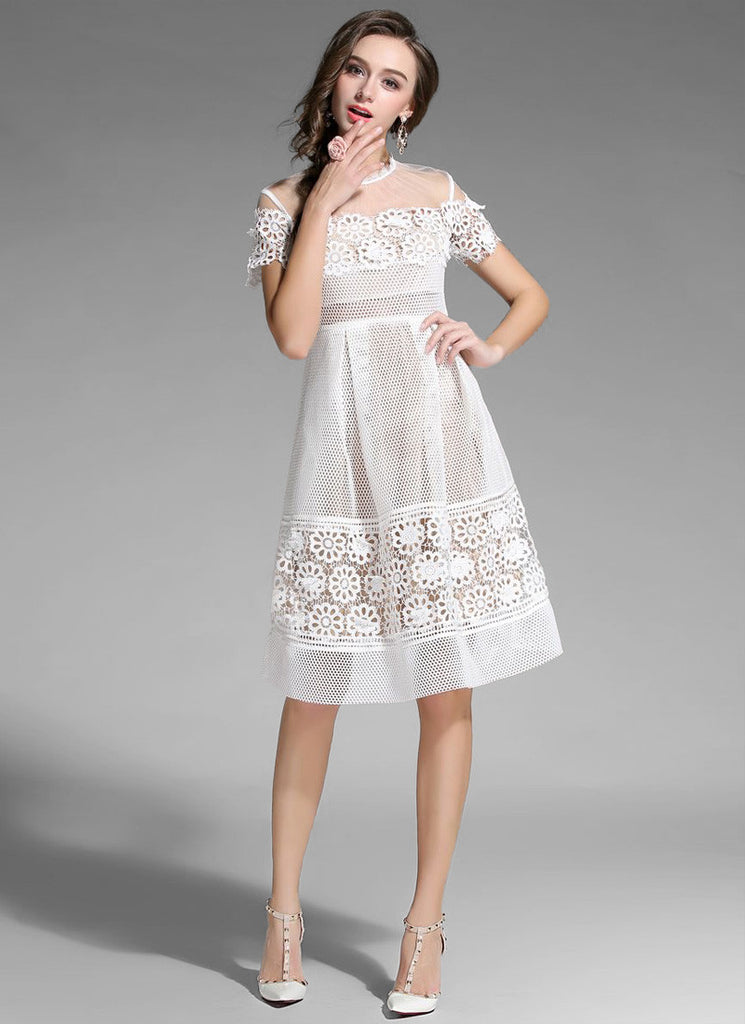 White Tulle Lace Aline Mini Dress with Sheer Organza Details