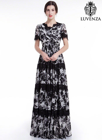 Black and White Chiffon Maxi Length Evening Dress with Lace Accents, V Neck and Pleated Top