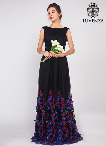 Black Tulle Formal Evening Dress with Blue and Red Butterfly Appliqué