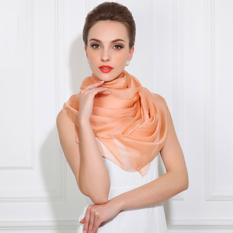 Pale Orange Silk Chiffon Scarf - Light Orange Silk Scarf - Large Silk Shaw - SS37