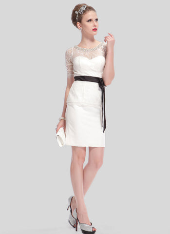 White Lace Sheath Mini Dress with Beaded Neck RD413