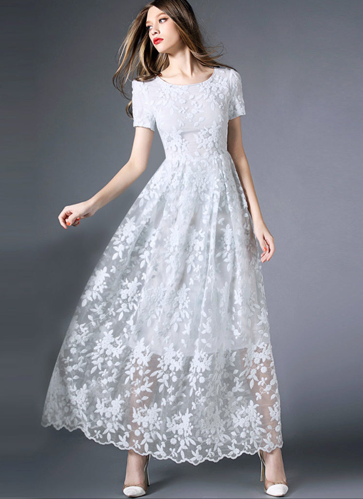 White Organza Lace Maxi Dress with Scalloped Hem