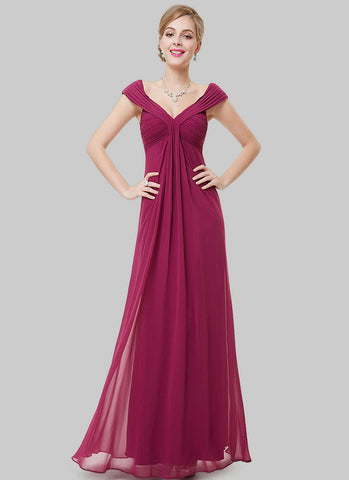Empire Waisted Dark Violet Red Maxi Dress with V Neck V Back RM489