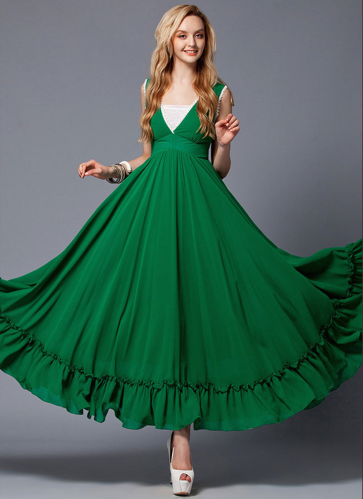 V Neck Emerald Green Maxi Dress with White Lace Trim Details