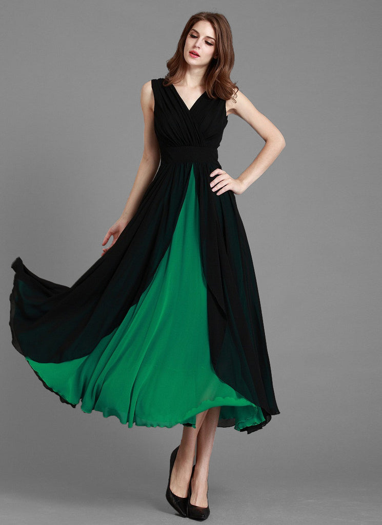 V Neck Black Maxi Dress with Layered Green Skirt
