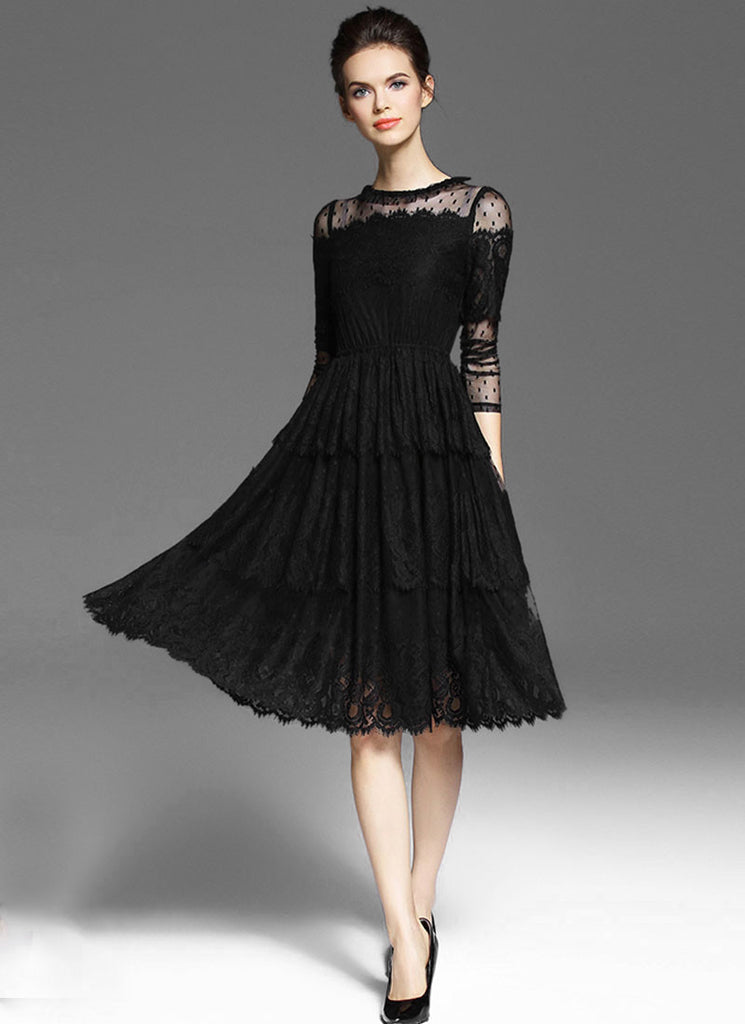 Black Lace Tulle Fit and Flare Mini Dress with Scalloped Hem
