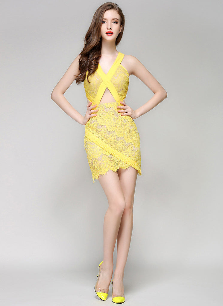 Asymmetric Yellow Lace Mini Dress with Eyelash and Scallop Details