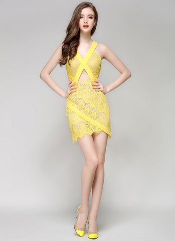 Asymmetric Yellow Lace Mini Dress with Eyelash and Scallop Details MN7