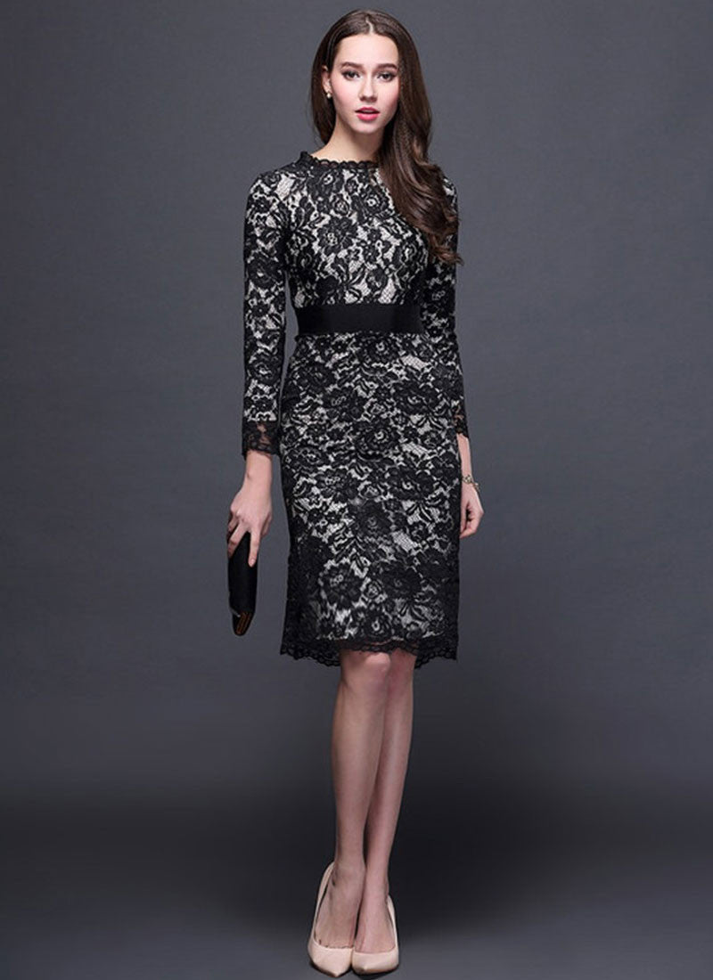9469312a Long Sleeve Black Lace Sheath Dress with Eyelash Details and Gray Lining
