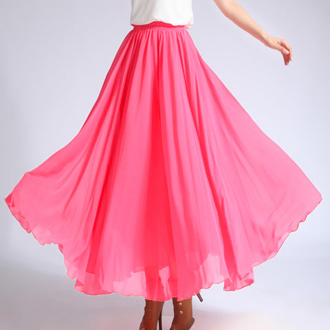 Watermelon Red Chiffon Maxi Skirt with Extra Wide Hem - Long Hot Pink Chiffon Skirt - SK5h