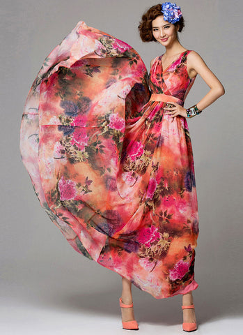 Red Floral Maxi Dress with V Neck and Faux Surplice Top RM262