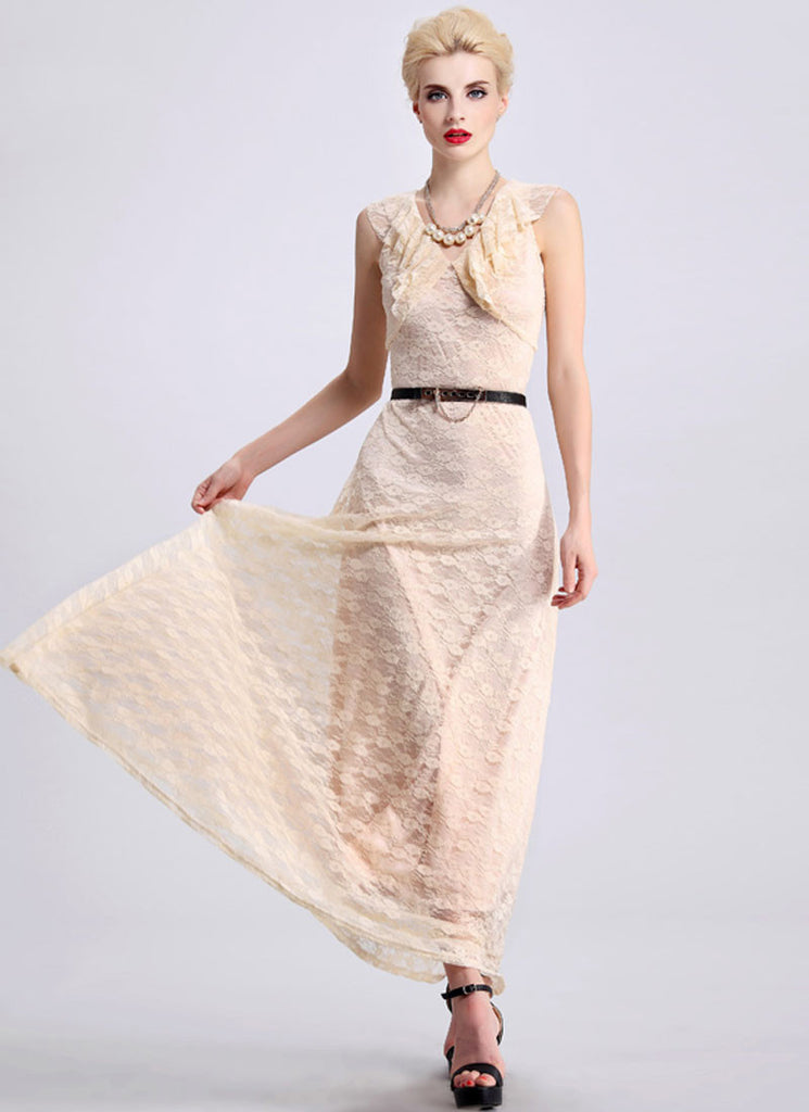 Beige Lace Maxi Dress with Draped Neckline