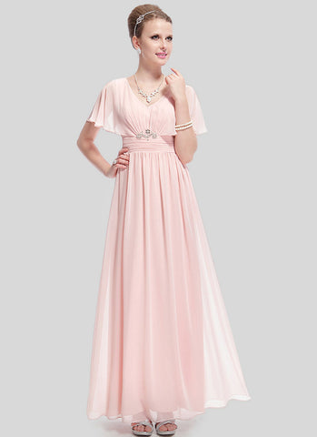 V Neck Light Pink Evening Dress with Cloak Top and Ruched Waist Yoke RM488