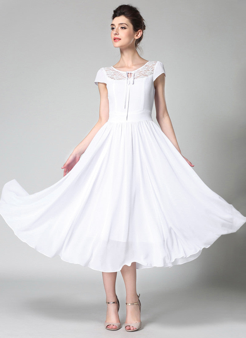 31c98b68d0 White Chiffon Midi Dress with Lace Details and Puff Cap Sleeves MD44