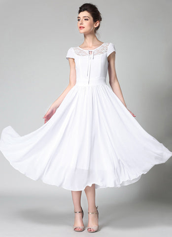White Chiffon Midi Dress with Lace Details and Puff Cap Sleeves MD44