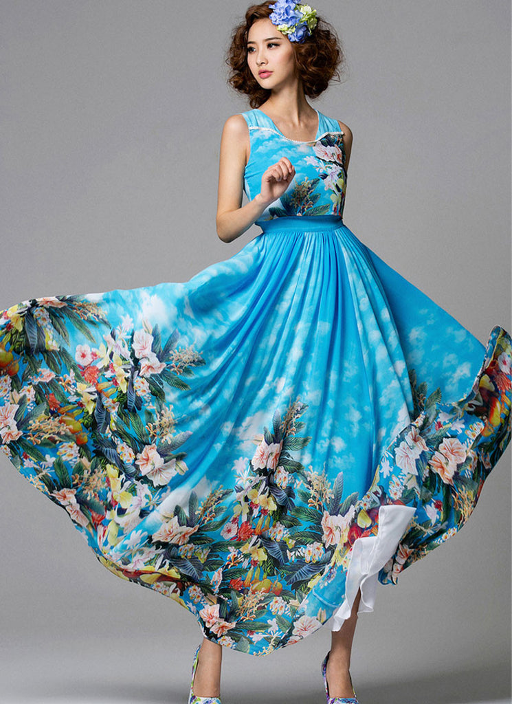 Scoop Neck Blue Floral Maxi Dress with White Piping Embellishment on Bodice