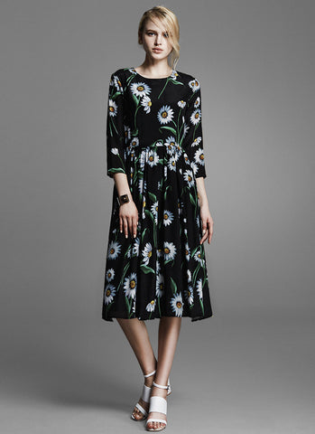 Black Fit and Flare Midi Dress with Daisy Floral Print and Three Quarter Sleeves MD28