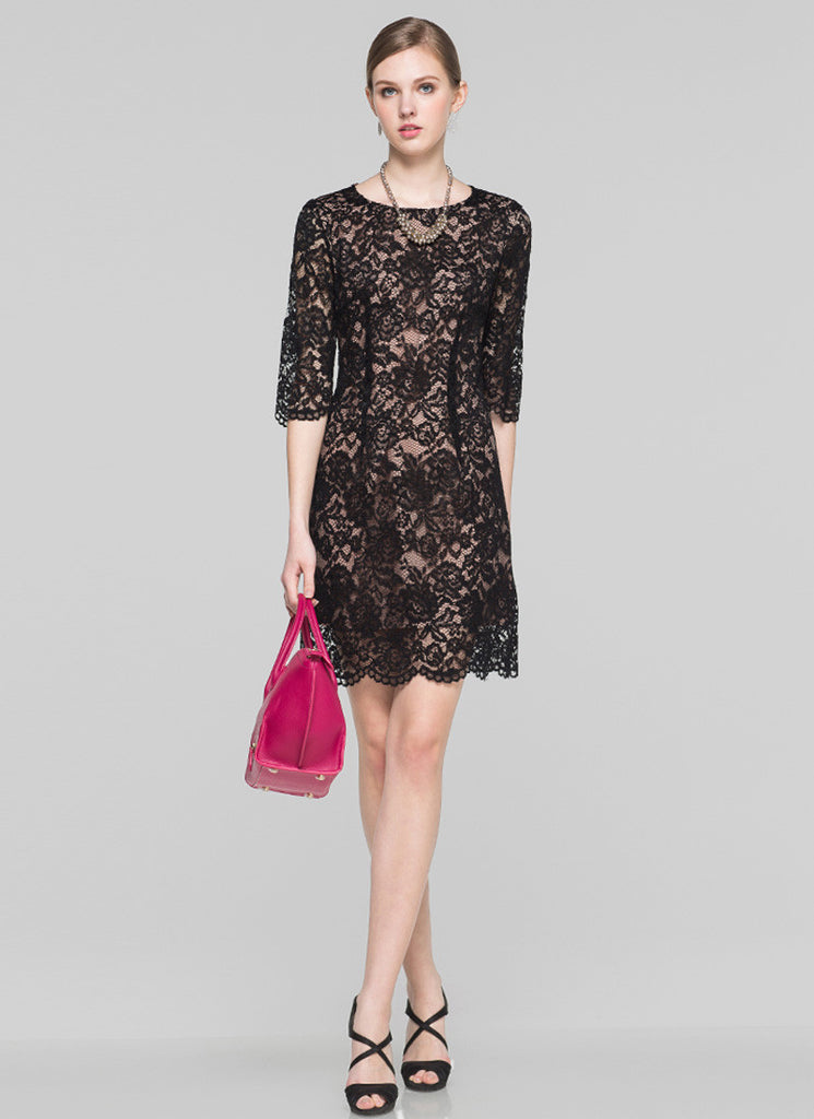 Black Aline Mini Dress with Scalloped Hem and Nude Lining