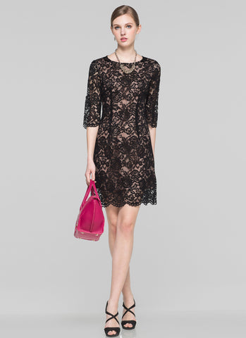 Black Aline Mini Dress with Scalloped Hem and Nude Lining MN67