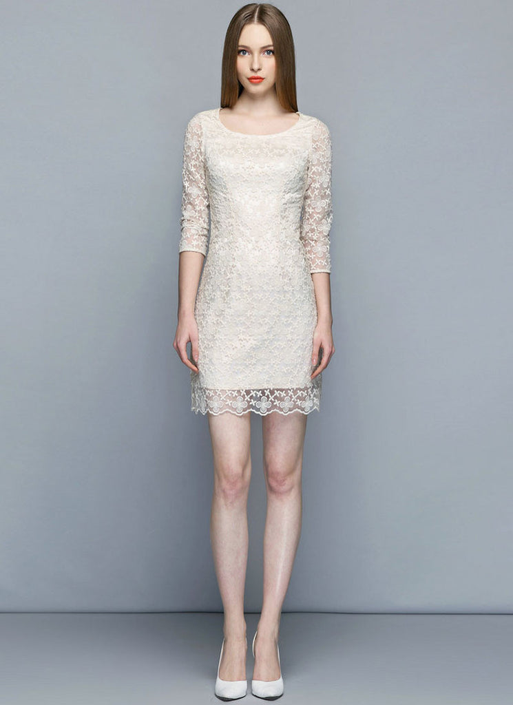 Beige Embroidered Organza Sheath Mini Dress with Scalloped Hem