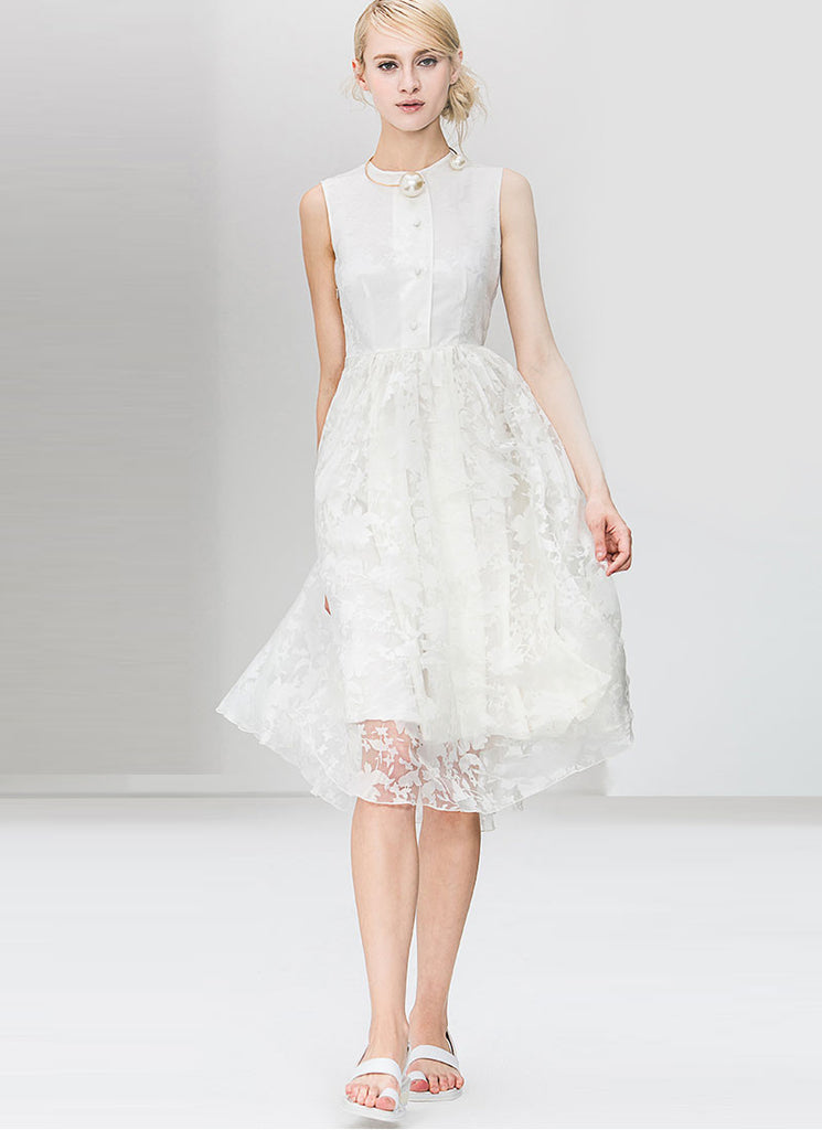 White Organza Midi Dress with Buttoned Top