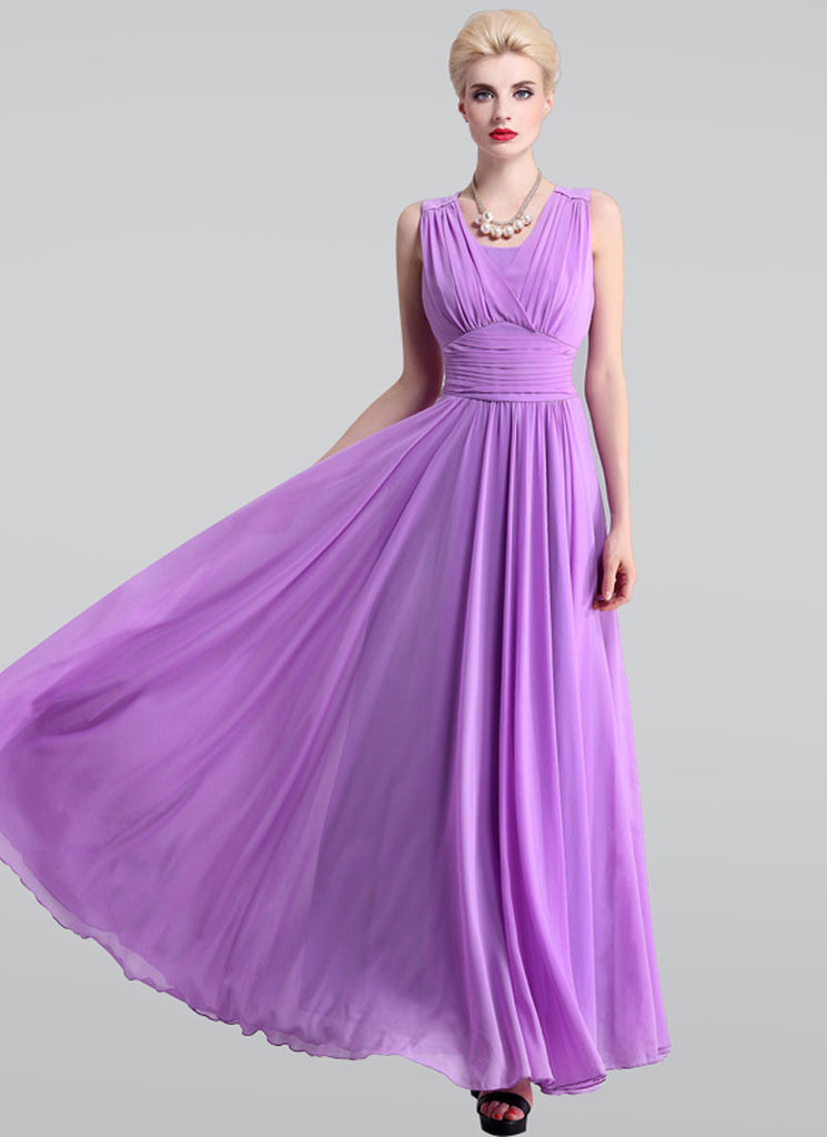 Radien Orchid Maxi Dress with V Neck and Wide Ruched Waist Yoke