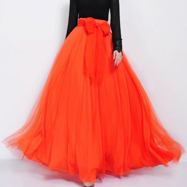 Orange Red Tulle Maxi Skirt With Bow Sash And Extra Wide