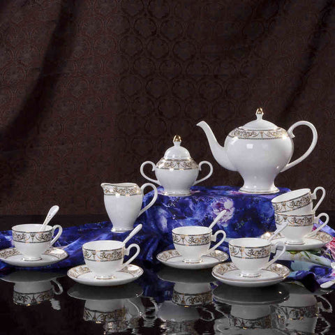 Large Fine Bone China Tea Set (21 Pieces) with Handpainted Floral Motif