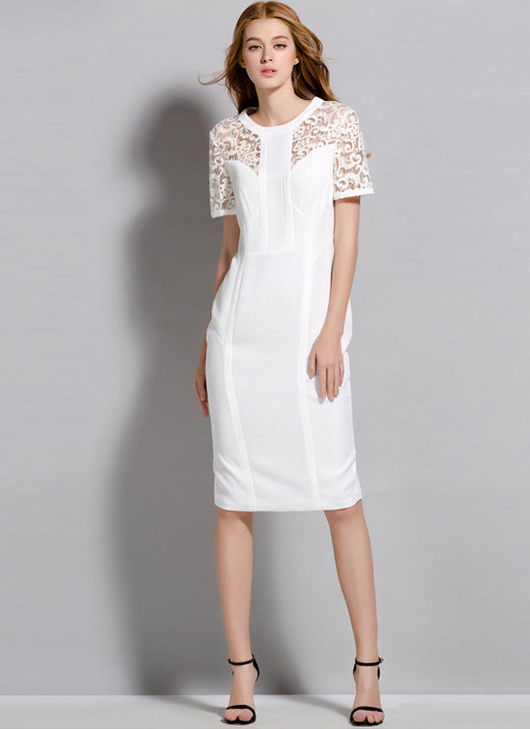 White Sheath Mini Dress with Lace Details and Back Slit