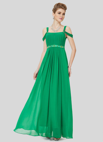 Open Shoulder Green Evening Dress with Embellishment RM511