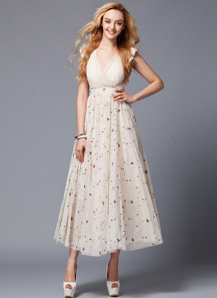 V Neck Floral Embroidered Beige Lace Maxi Dress with Chiffon Bodice