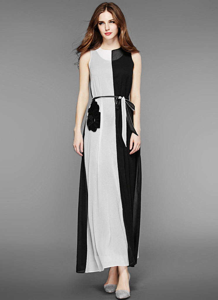 Light Gray and Black Maxi Dress with Contrast Colored Appliqué