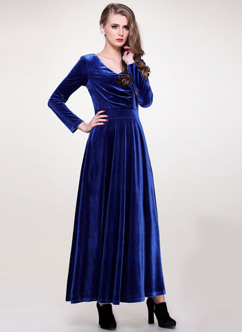 V Neck Blue Velvet Maxi Dress with Long Sleeves RM406