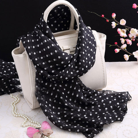 Black Silk Chiffon Scarf with Small Polka Dot Print  - Dot Printed Mulberry Silk Scarf -  Polka Dot Print Printed Silk Georgette Scarf Shaw - 2017-15